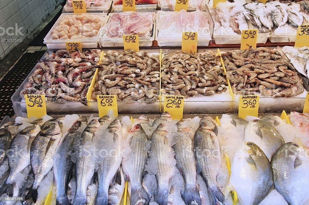 Fish store in New York stock photo