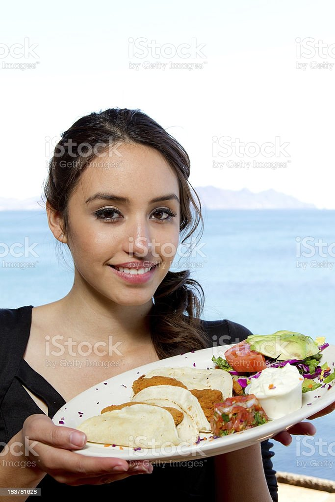 Fish Tacos for dinner at the beach royalty-free stock photo