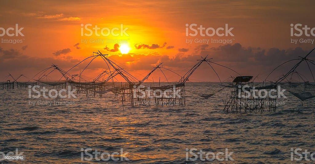 Fish traps at sea stock photo