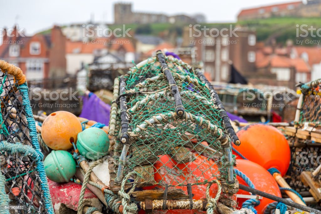 Fish traps in Whitby, North Yorkshire, UK stock photo
