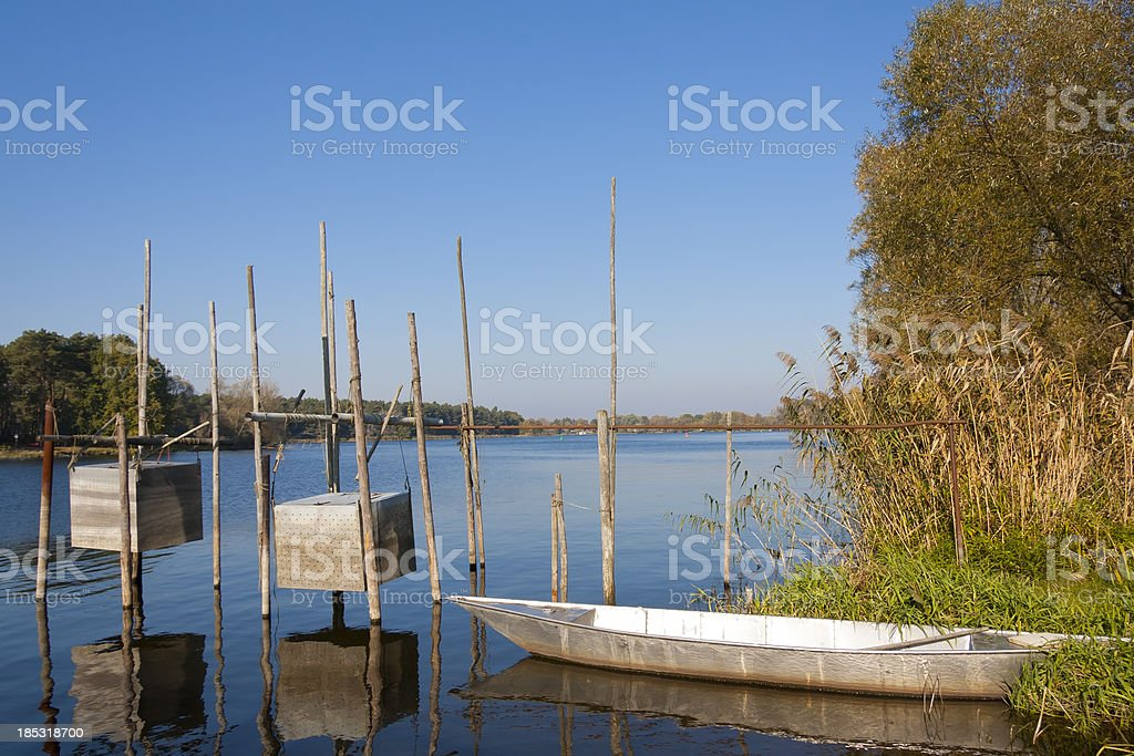 Fish Traps on the River Havel stock photo