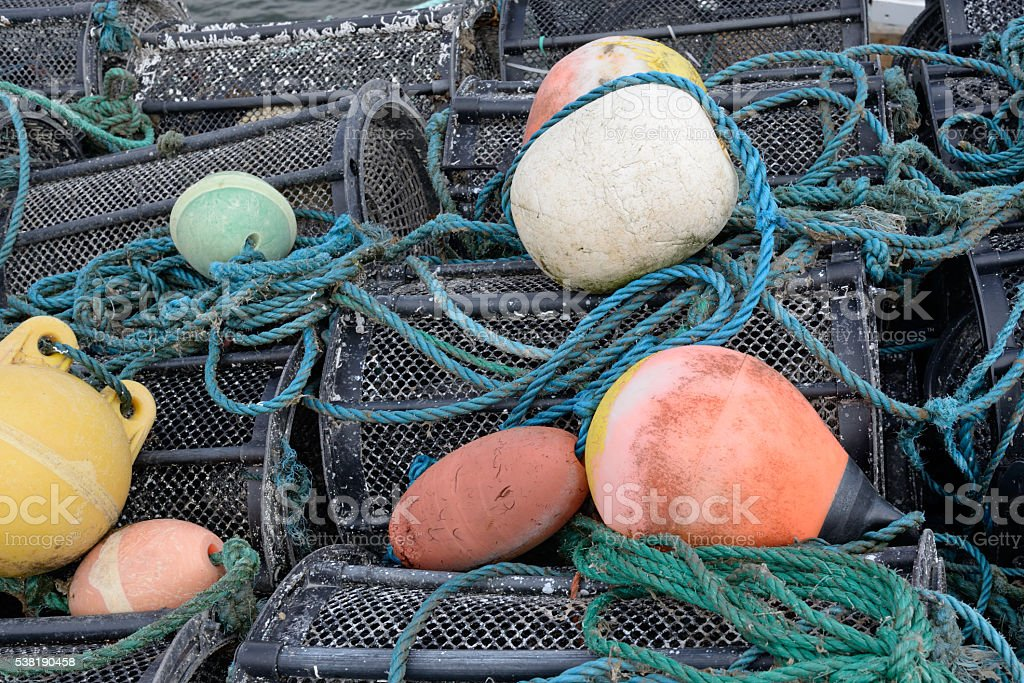 Fish Traps with Buoys stock photo
