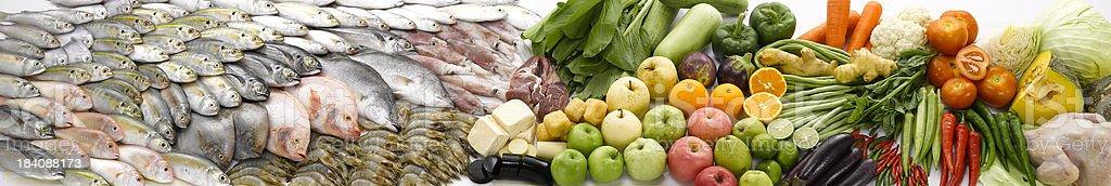 Fish & Vegetable panorama stock photo