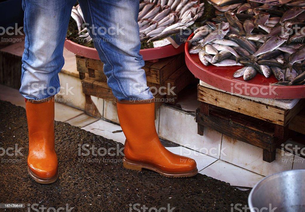fish vendor at the market royalty-free stock photo
