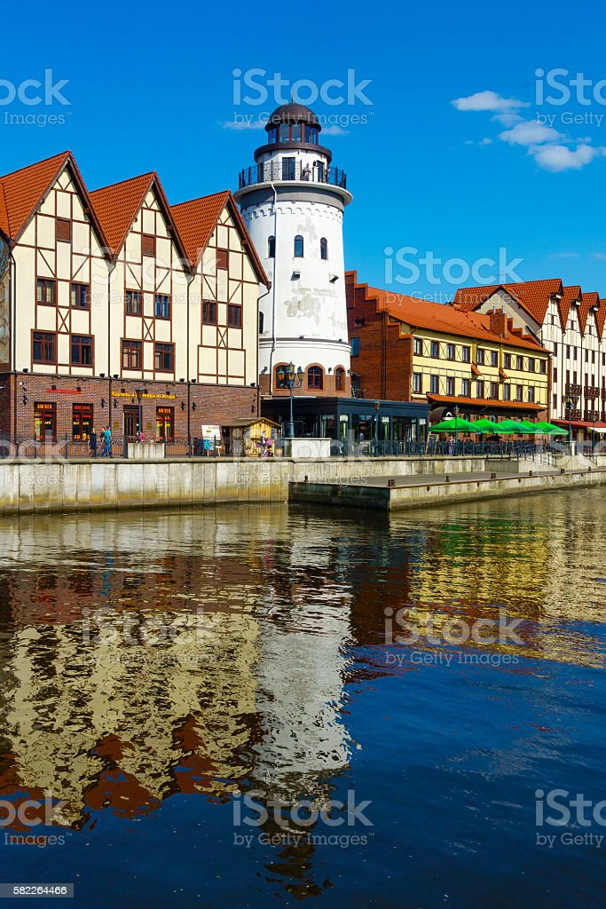 Fish village in Kaliningrad city stock photo