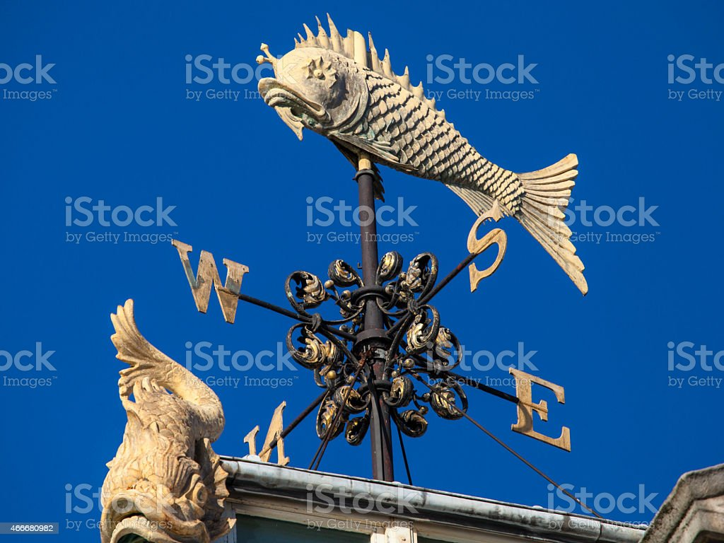 Fish Weather Vane at Old Billingsgate Fish Market in London stock photo