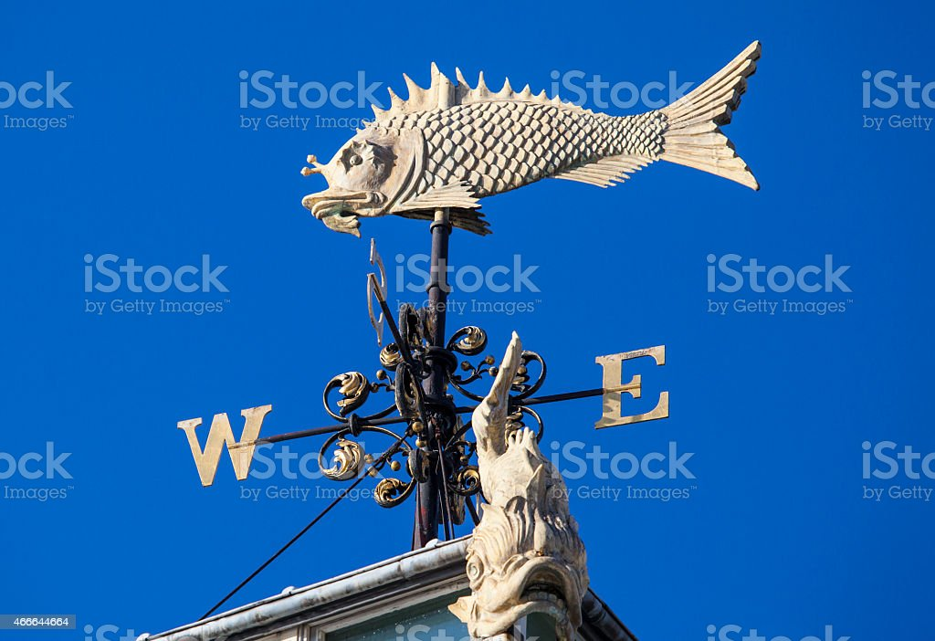 Fish Weather Vane at Old Billingsgate Market in London stock photo