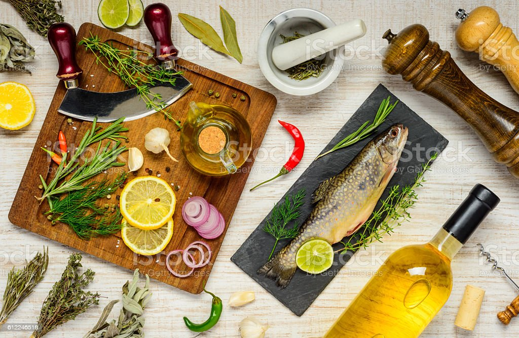 Fish With Cooking Ingredients stock photo