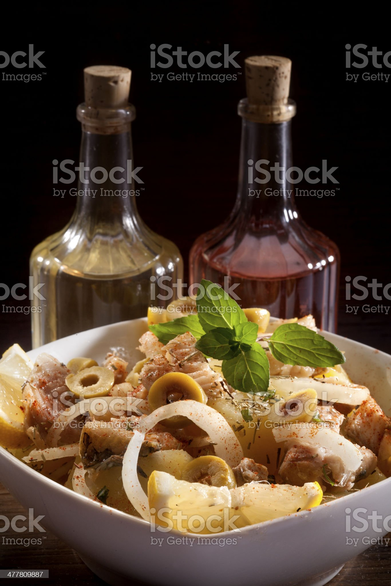 fish with potato salad royalty-free stock photo