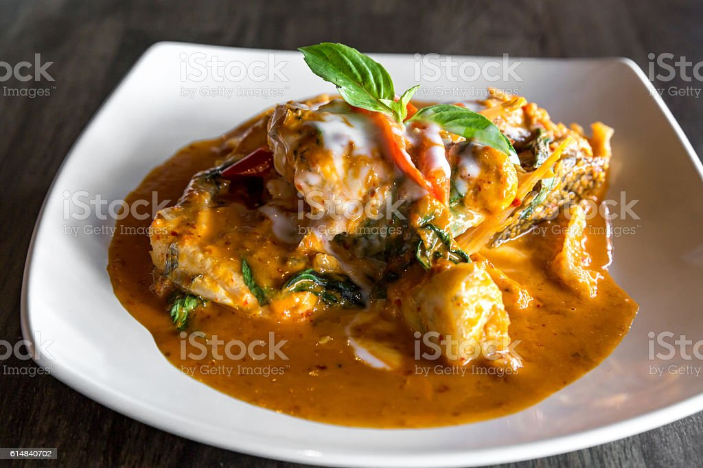 Fish with Red Curry Paste stock photo