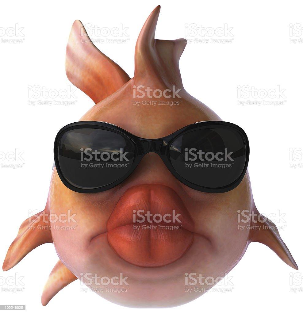 Fish with sunglasses stock photo