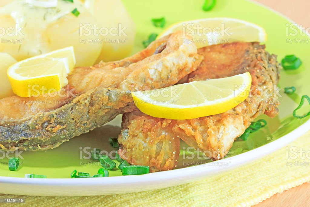 Fish with vegetables stock photo