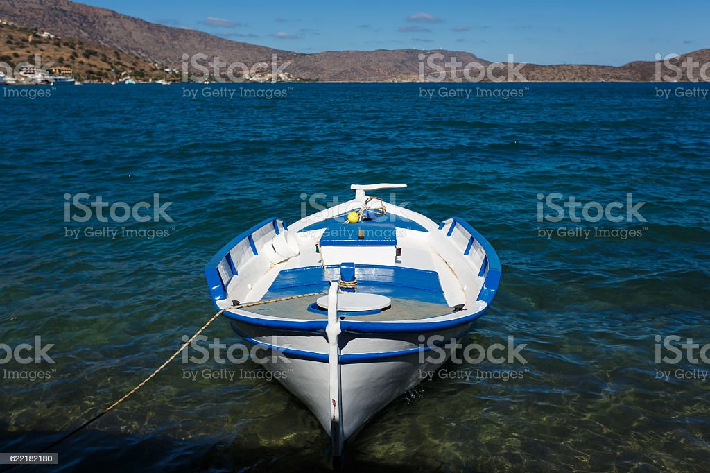 Fishboat in a bay stock photo