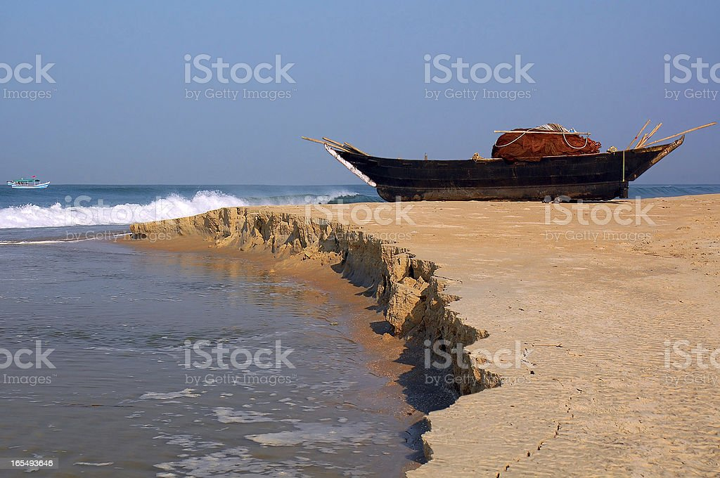 Fish-Boat on the Shore royalty-free stock photo