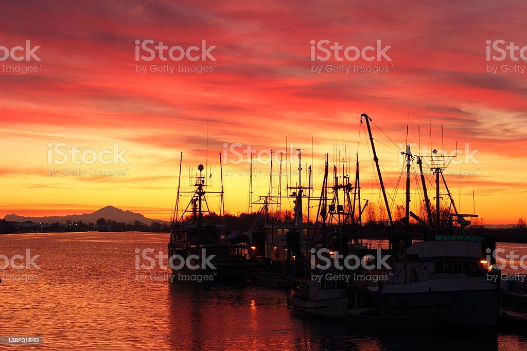Fishboats at Dock, Steveston Sunrise stock photo