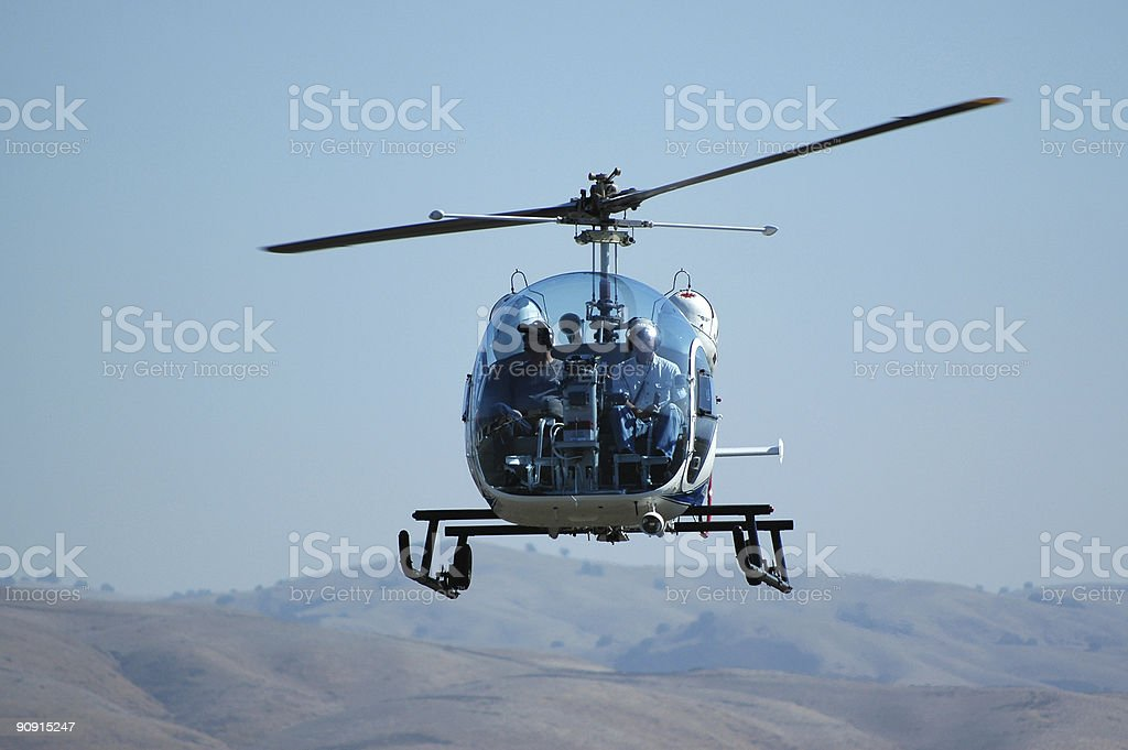 fishbowl canopy helicopter Bell 47G landing royalty-free stock photo