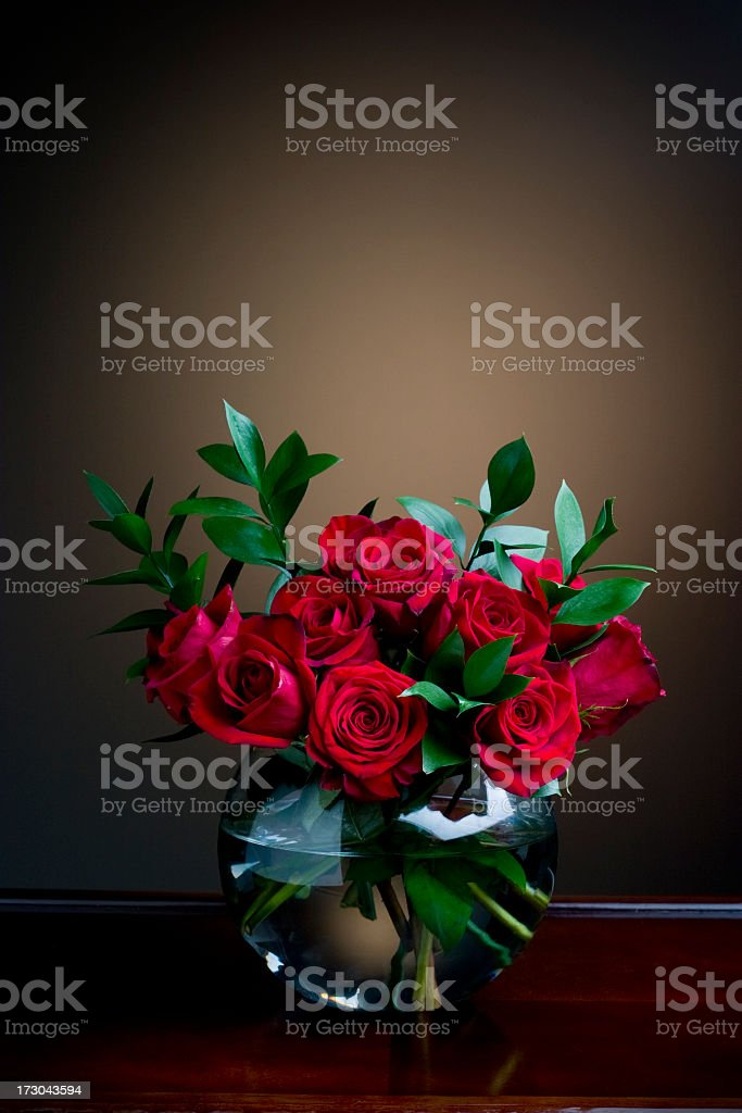 Fishbowl of Red Roses royalty-free stock photo
