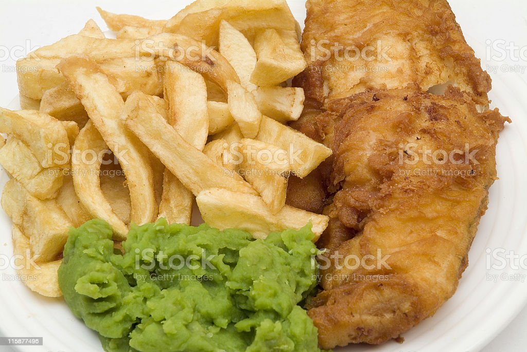Fish,chips and mushy peas royalty-free stock photo