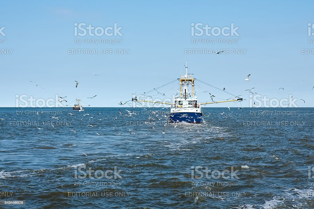 Fisher boat in the Dutch waters stock photo