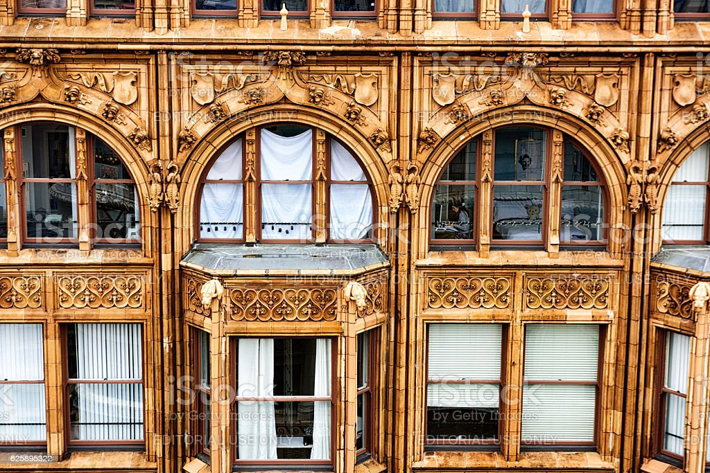 Fisher Building detail with occupant, downtown Chicago stock photo
