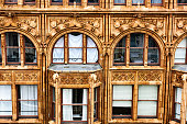 Fisher Building detail with occupant, downtown Chicago