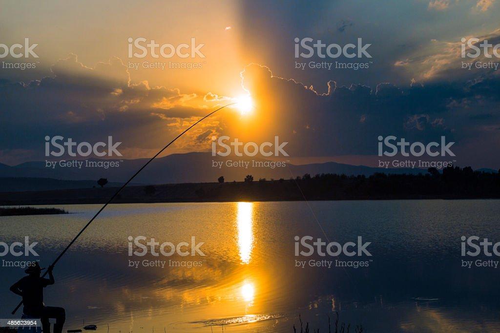 Fisher sunset background stock photo