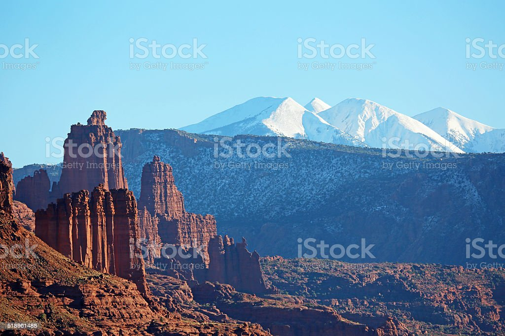 Fisher Towers and La Sal Mountains stock photo