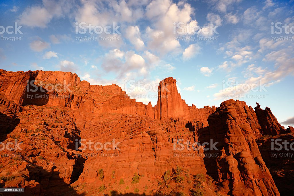 Fisher Towers at Sunset stock photo