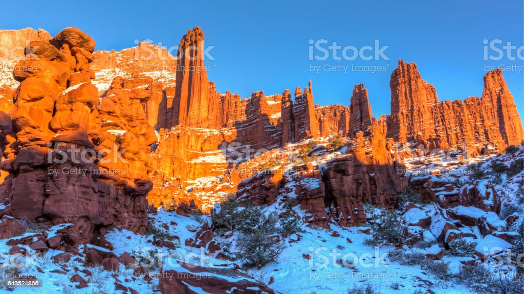 Fisher Towers Golden Hour stock photo