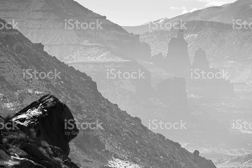 Fisher Towers Moab Utah in Black & White stock photo