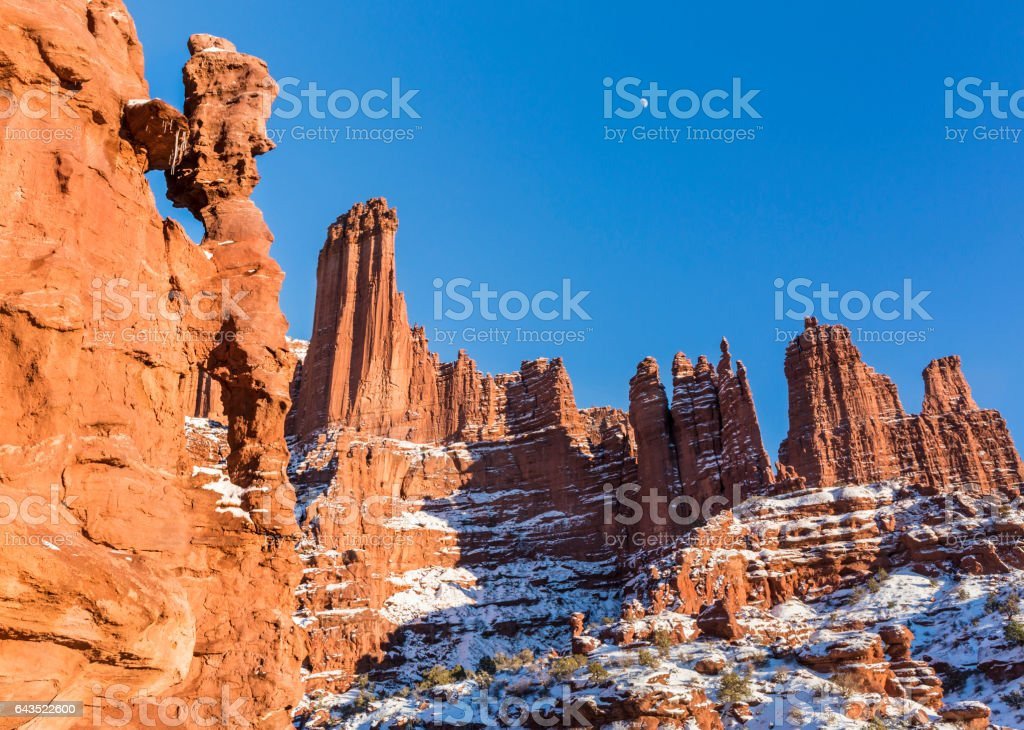 Fisher Towers Rock Fins and Rock Windows stock photo