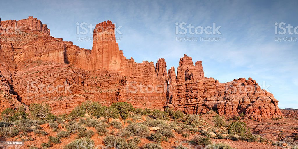 Fisher Towers rock formation stock photo