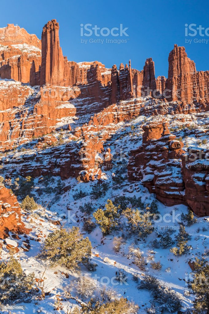 Fisher Towers Snowy Canyon stock photo