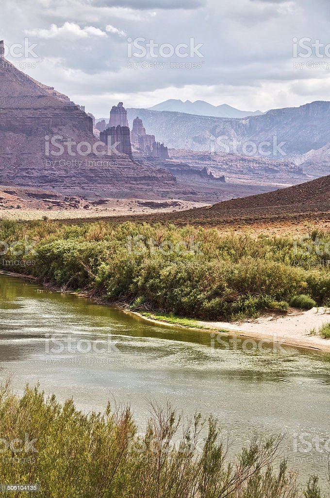 Fisher towers, upper Colorado scenic route near Moab, Utah, USA stock photo