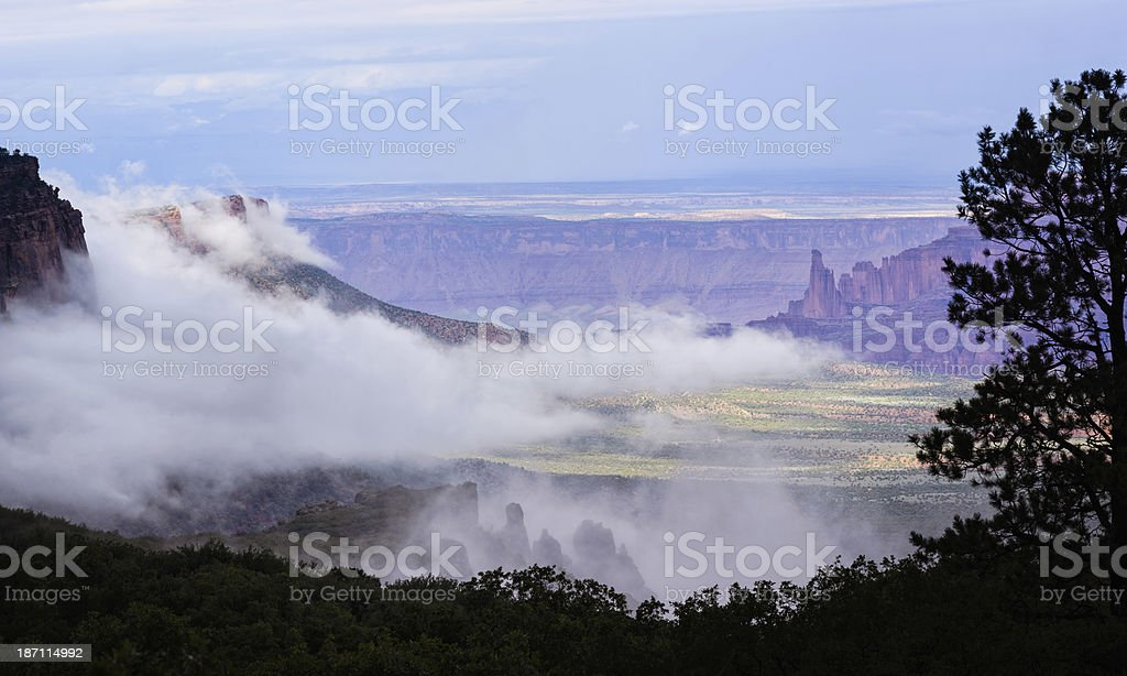 Fisher Towers View from Above with Dramatic Storm Clouds stock photo