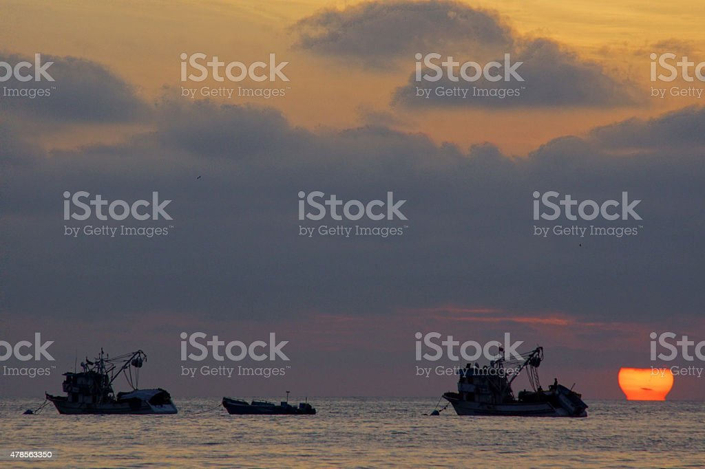 Fisherboats in Puerto Lopez stock photo