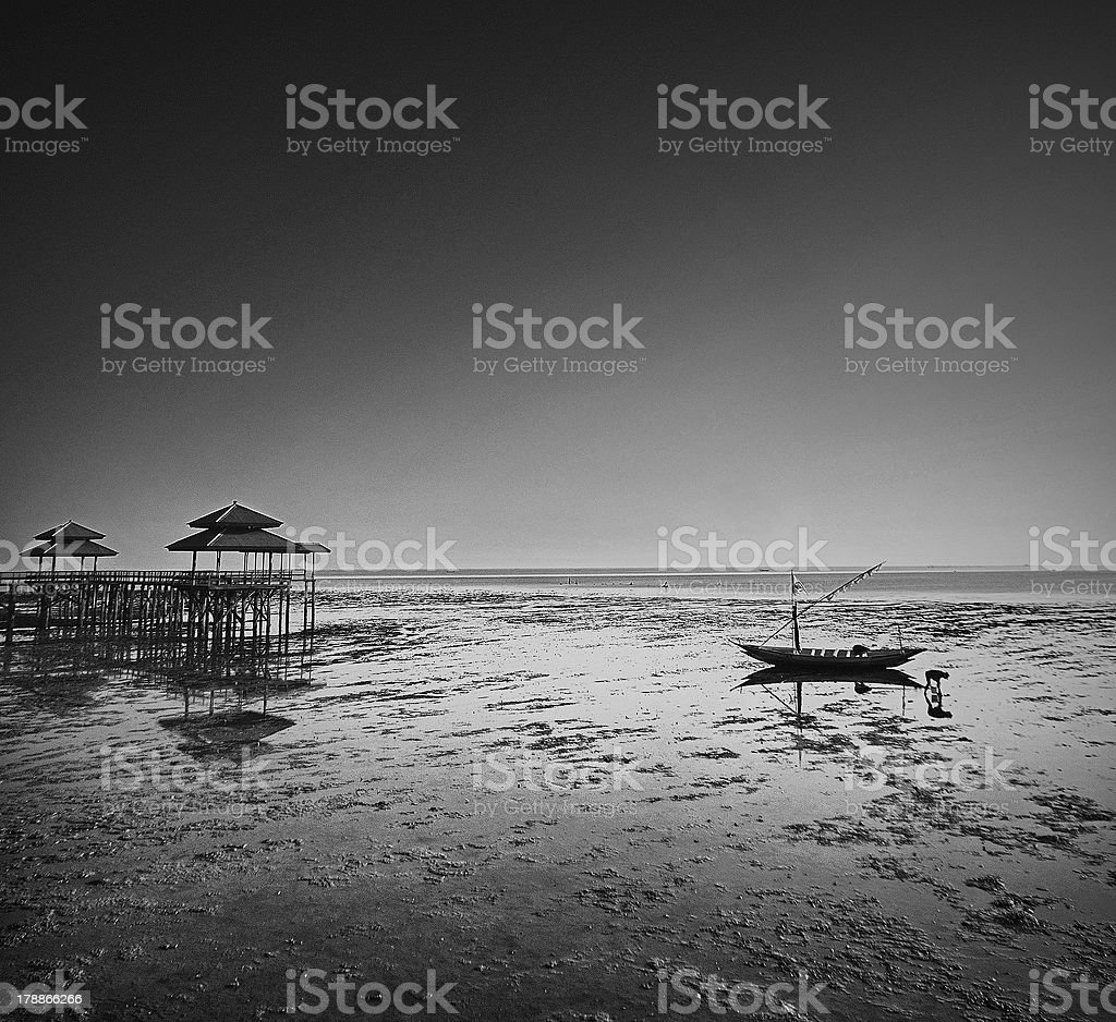 Fisherman activity on receding shore stock photo