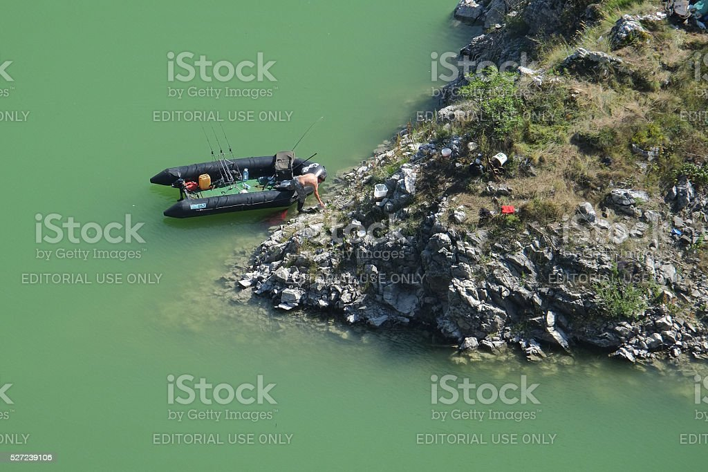 fisherman and his bivouac in the Uvac Special Nature Reserve stock photo