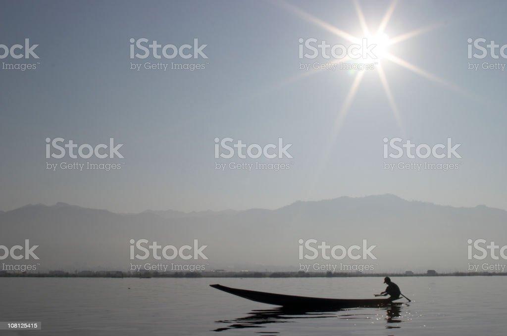 Fisherman and Sun Star royalty-free stock photo