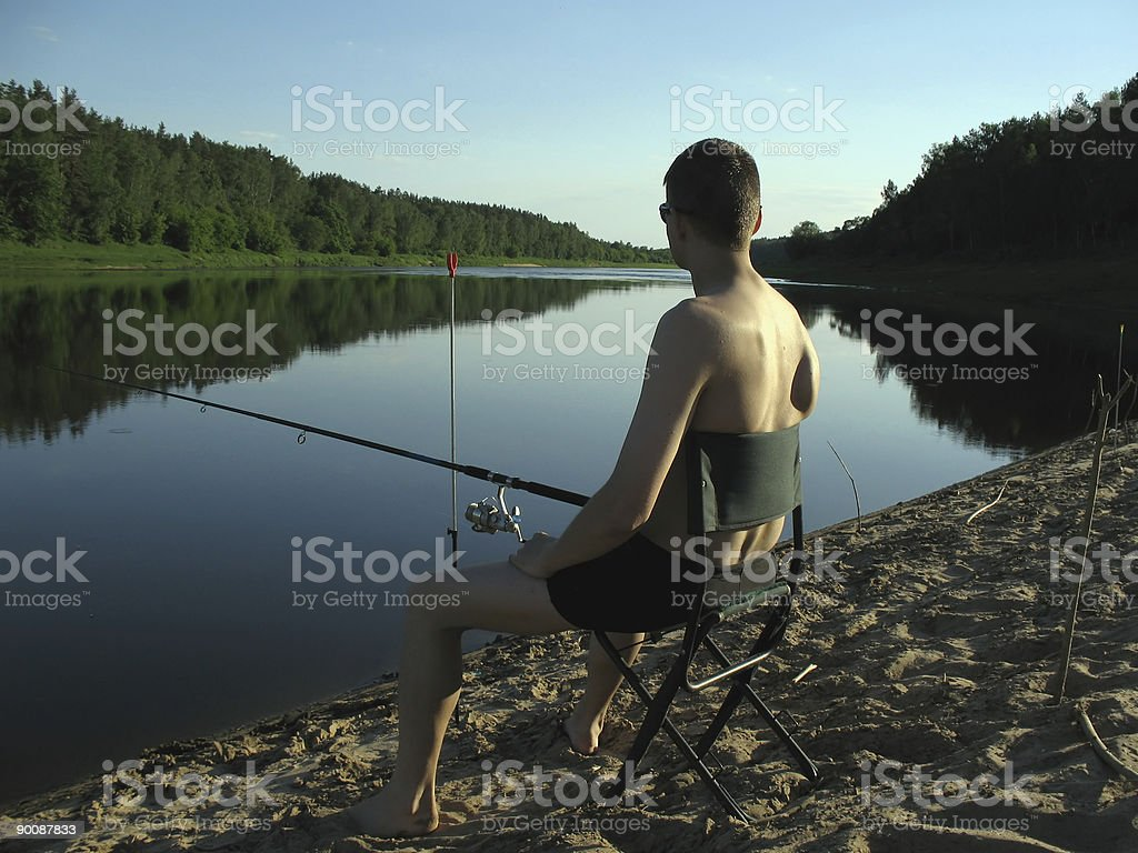 Fisherman at evening. royalty-free stock photo