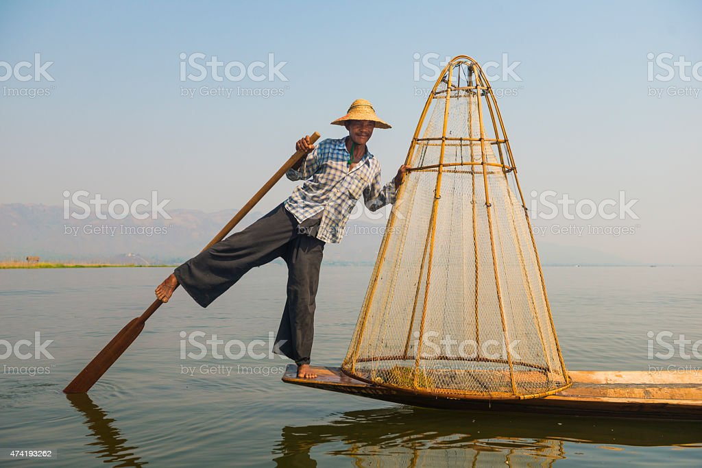 Fisherman at Inle Lake, Myanmar (Burma) stock photo