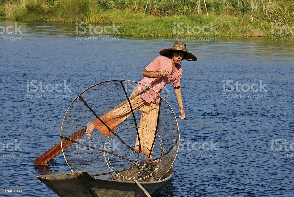 Fisherman at Inle Lake royalty-free stock photo