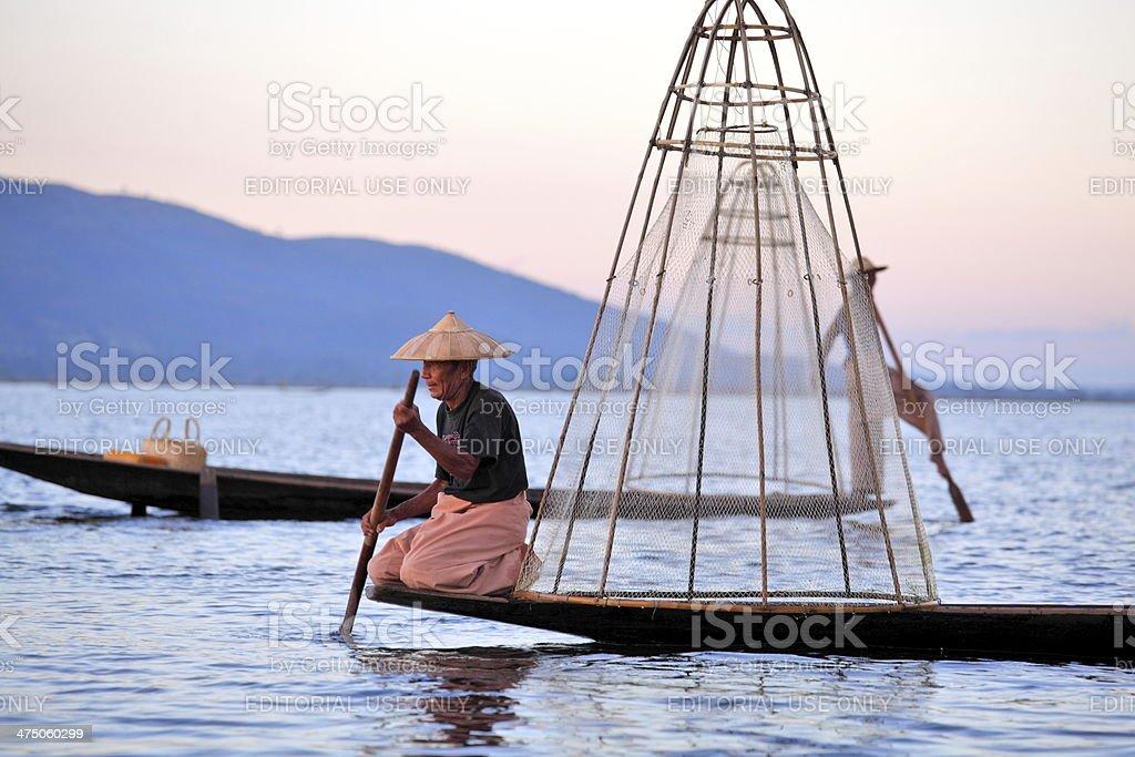 Fisherman at Inle Lake stock photo