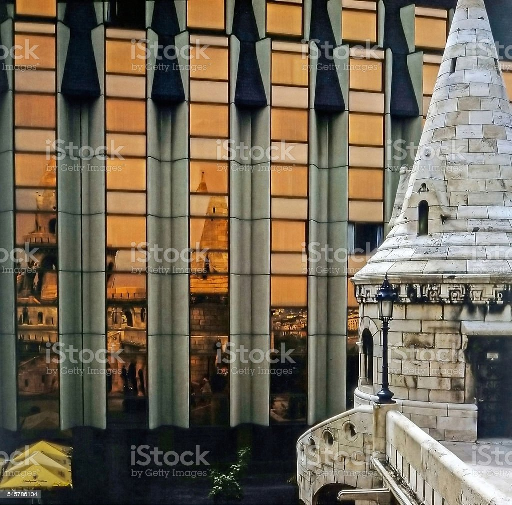 Fisherman Bastion and Hotel Hilton, Budapest stock photo