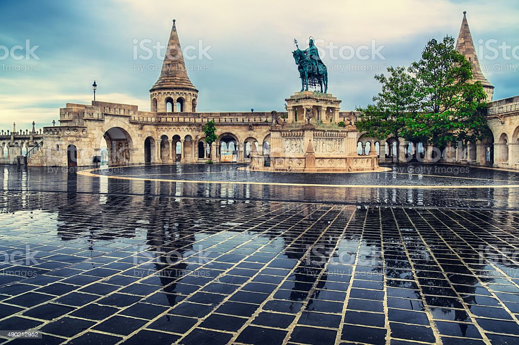 Fisherman bastion in Budapest, Hungary in the evening stock photo