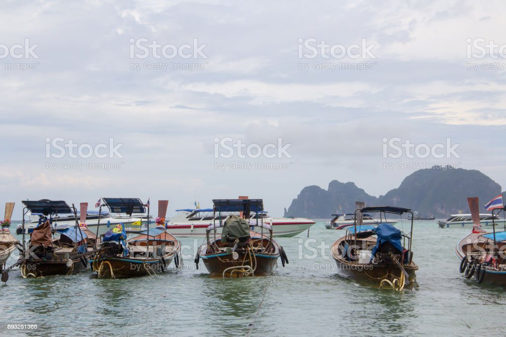 Fisherman boat and boat tour in Thailand. stock photo
