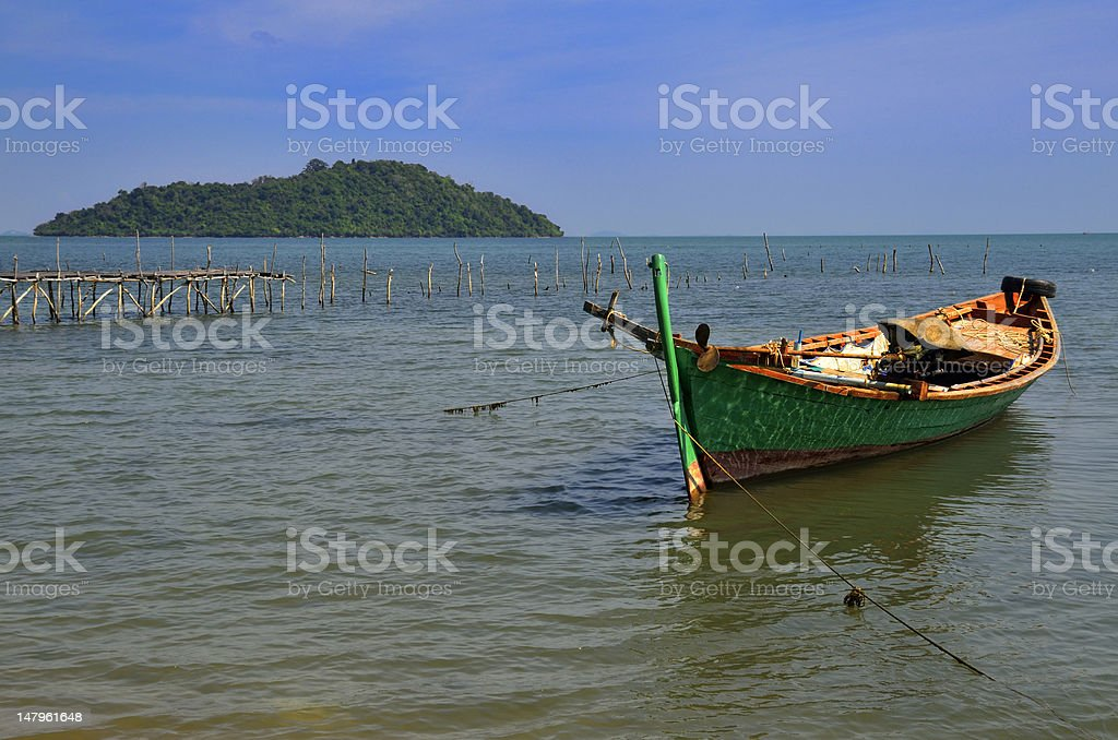 Fisherman boat at Rabbit Island stock photo