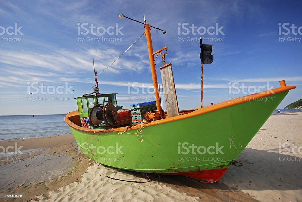 Fisherman boat in Miedzyzdroje royalty-free stock photo