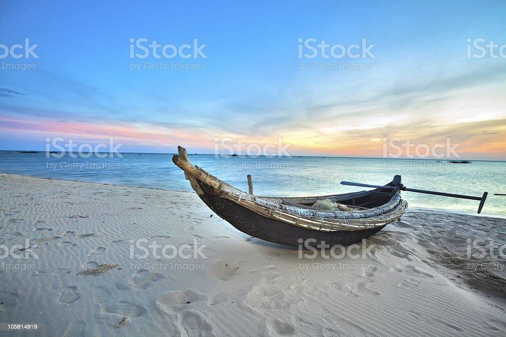 Fisherman boat stock photo
