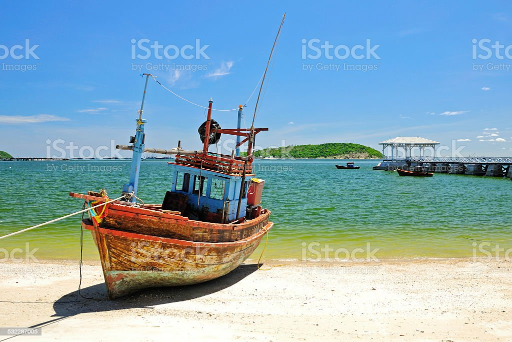 Fisherman Boat with clear sky environment,Thailand stock photo